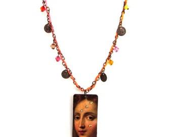 Virgin Mary Necklace Madonna Religious Pendant  Boho Jewelry Catholic Christian Wearable Art Mixed Media Catholic Gift Mothers Day Gift