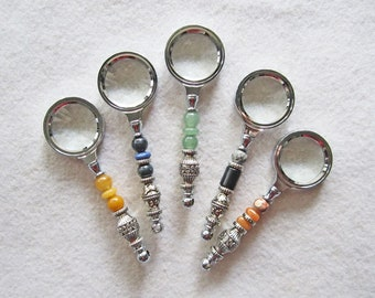 Cute and Functional Silver Plated and Gemstone Beaded Mini-Magnifiers for Your Purse