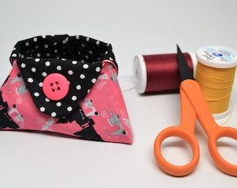 Mini basket, Thread Basket, Lipstick Holder, Bath and Beauty Catchall, Paris Pink and Black Polka Dot Tiny Triangle Bowl
