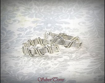 Sterling Silver Wedding Band, Silver Purity Ring, Sterling Silver Wire Band, Any Size Ring, 'Trellis Vine' Wire Woven