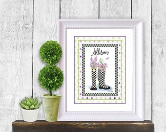 Checkered Wellies Print / Note Cards Spring Blooms Black and White checked