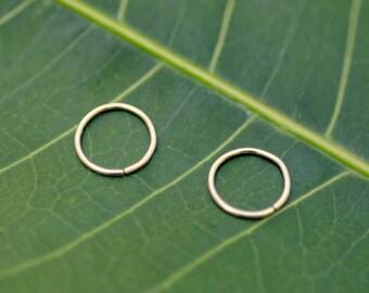 Nose Ring Hoops - Helix Piercings - Tragus Rings - Cartilage Earrings - One Pair of 14K Solid Gold Hoop Earrings - 7 mm Inner Diameter Hoop