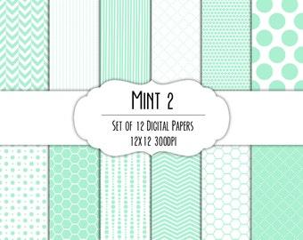 Mint Green 2 Digital Scrapbook Paper 12x12 Pack - Set of 12 - Polka Dots, Chevron, Hexagon - Instant Download - Item#8203