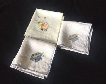 Embroidered Floral Hankies Lot