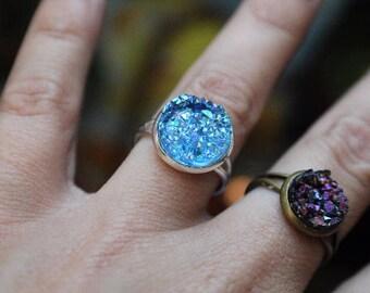 BUY 3 GET 1 FREE Beautiful Light Blue Druzy Ring, 12mm, Mermaid Blues, Adjustable, Wedding, Bridesmaid