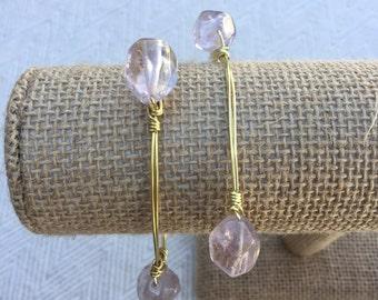 Purple Crystal Wire-Wrapped Bangle Bracelet