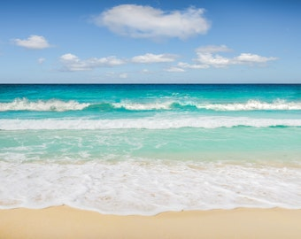 Caribbean Sea ocean photography print, turquoise wave photography