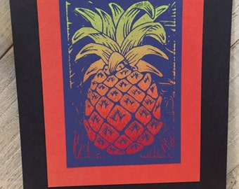 Original Pineapple Series Prints - Royal Blue Sunset Colored Linocut Print, Linoleum Block Print
