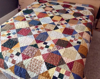 Queen Quilt, Queen Size Quilt, Patchwork Quilt, Country Quilt, Traditional, Old Fashioned, Bed Blanket Bedding, Ready to Ship