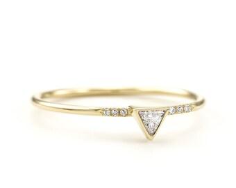 Trillion diamond engagement ring ~ Minimalist Trillion Diamond ring  Triangle engagement ring  thin trillion ring  simple inspirational ring