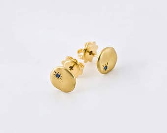 Blue Sapphire Earrings 18k Yellow Gold Earrings, Cloud Small Sapphire Stud Earrings, 14k Rose Gold Saphire Earring Nuggets