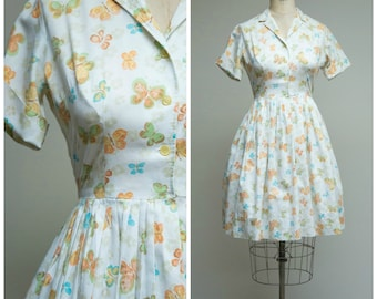Vintage 1950s Dress • Butterflies • Blue Orange Printed Cotton 50s Shirtwaist Dress Size Medium