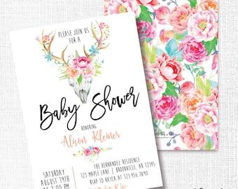 Boho Skull Rustic Baby Shower Invitation, Printable, Watercolor Floral Invite, Boho Chic, Bohemian, Modern, Simple