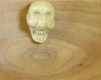 Carved Skull Bead -opaque  cream Chinese Jade - Laughing Skull - Unisex- Pendant - Focal Point, Necklace