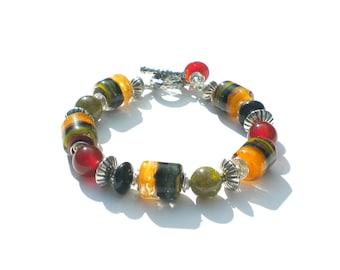 Handmade, Custom Beaded Lampwork Glass, Sterling Silver and Gemstone Bracelet.