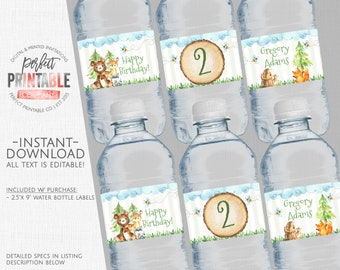 Woodland Water Bottle Labels, Woodland Water Labels, Woodland Birthday Party Water Labels, Instant Download, Editable, Printable #767
