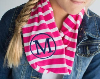 Monogrammed Kids Pink and White Striped Infinity Scarf, Personalized Kids Pink and White Striped Infinity Scarf, Winter Scarf, Scarf
