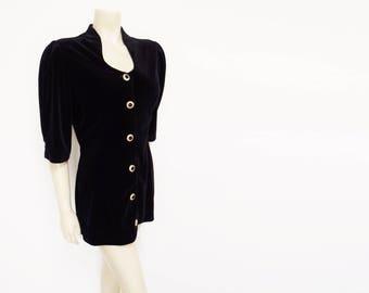 Black Velveteen Top, UK14, Vintage Clothing, Tunic, Christmas Top, Velvet Tunic, Boho,Women's Clothing, Black Velvet Jacket, Eveningwear