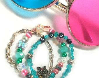 Layered LOVE Bracelet - 3 Strand Pastel Bracelet 90s Jewelry Kawaii Fairy Kei Heart Bracelet