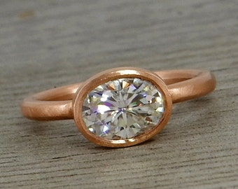 Oval Moissanite Ring with Recycled 14k Rose Gold Alternative Engagement Ring - Forever One G-H-I - Matte - Conflict-Free, Made to Order