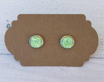 8mm Pistachio Druzy Earring / Surgical Steel Earrings / Faux Druzy Earrings / Stud Earrings / Rose Gold Earrings / Childrens Earrings