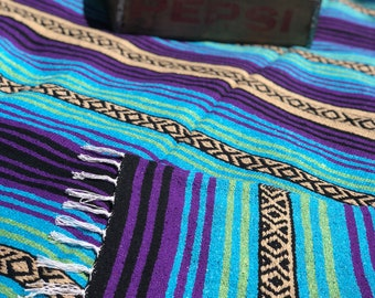 Serape Blanket/Mexican Blanket/Picnic Blanket/Boho Style/Light Blue