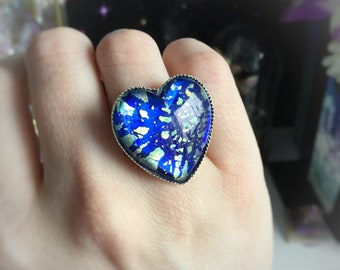 Earth Heart ring, Mother Earth, Gaia vintage Japanese glass foil