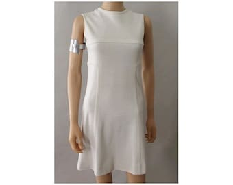 Paris 1960 Mod Dress white extra small A line sleeveless XS
