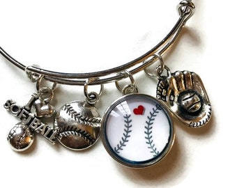 Softball - Baseball- Sports - Themed Bangle Bracelet - Customize with Your School Name or Logo
