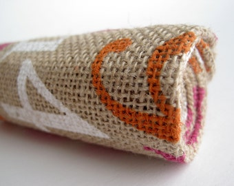 Bright Numbers Print Burlap in Pink, White, Brown - Fat Quarter 18 x 24 Inches for Sewing, Crafts, Pillows and More!
