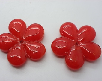 large Pearl 40 mm charm hole 3 mm red flower shape