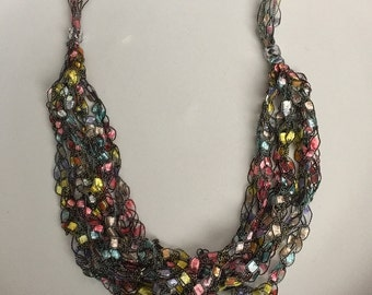 Crocheted Trellis Necklace in pastels