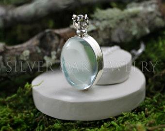 SOJ-097: Sterling Silver and Glass Oval Locket - Double sided, memorial locket, heirloom locket, photo locket - GRADE B / SECONDS / Discount