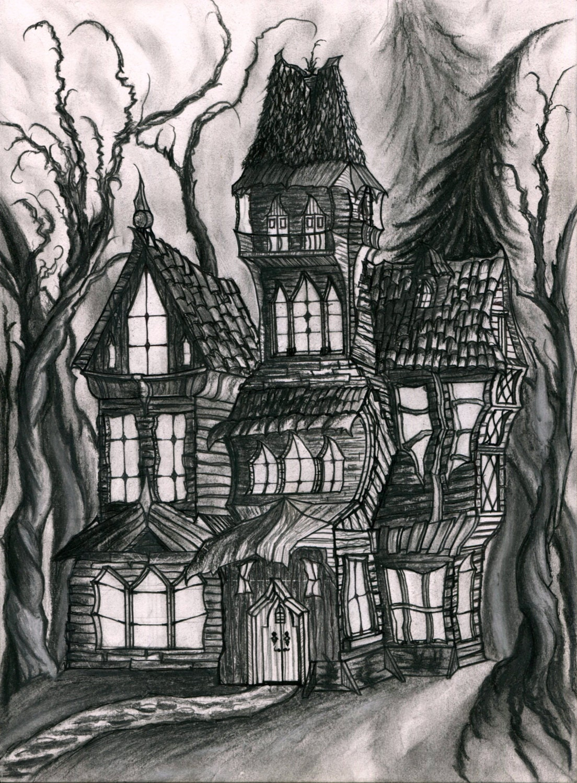 Print of an original drawing of a Haunted House. Dark fantasy