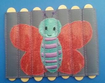 Butterfly Stick Puzzle - Seven Pieces - vinyl - school - classroom - educational - Quiet Toy - Busy Bag - Activity Bag - popsicle stick