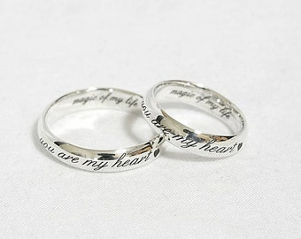 Personalized Jewelry - Personalized Ring,  Wedding Band, Engraved Ring, Promise Ring, Custom Design Ring, 4 mm. Sterling Silver Ring
