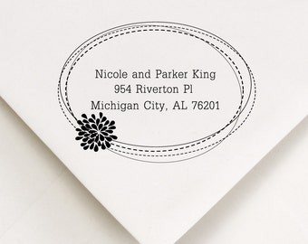 Address Stamp - Wood Handle - Adorable Wedding Gift, Save The Date, Housewarming - Nicole and Parker