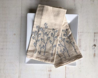 Flour Sack Napkin (Unbleached) - 1 Set (2 Napkins) - Pussywillows - Russian - Housewarming Gift - Hand Screen Printed