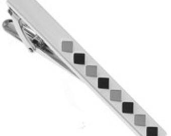 Diamond Pattern Tie Bar Clip Silver Tone Black and Grey Tie Bar