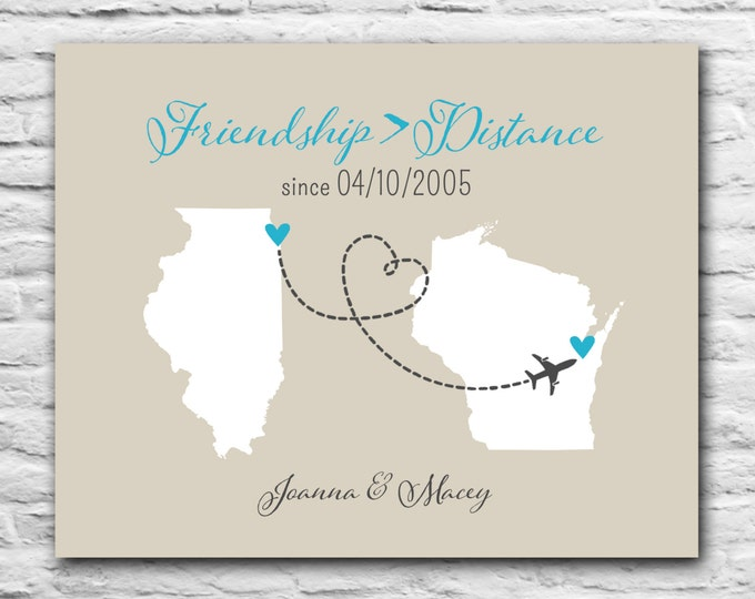 Gift for Best Friends Forever Best Friend Long Distance Print BFF Gift Heart State Personalized Print Map - 8x10 dotted line - State Country