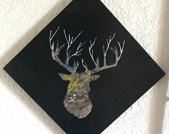 """Pour acrylic skin dirty pour 12""""x12"""" wood panel home decor abstract fluid art deer antlers hunting hunters"""