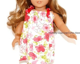 18 Inch Doll Clothes Pink Flower Pillowcase Dress + Hair Flower Fits For American Girl Dolls