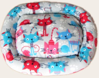 Medium, Funny Cats, Cat bed, Washable pet bed, Dog bed, oval pet bed, Puppy bedding, Kitten bed, Kennel bedding, Plush Fleece pet bed