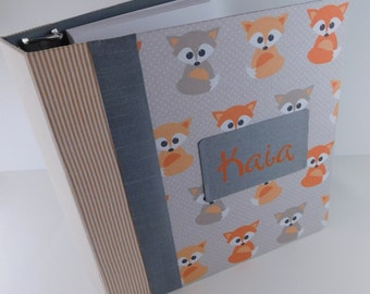 Fox Baby Book Girl Baby Memory Book Boy Photo Album Scrapbook Modern personalized Shower Gift pregnancy journal 4x6 5x7 8x10 Orange Fox Z