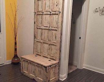 ON SALE Mud room bench - Hall tree - wooden door hall tree - repurposed door - entryway bench - entryway storage bench - coat rack - shabby & ON SALE Hall tree antique wooden door hall tree repurposed