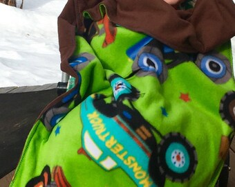 Car Seat, Stroller Blanket, with Trucks and brown backing