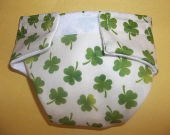 Cloth Doll diaper SIZE #2 ready to ship green shamrock  fits Luvabella some Baby alive cabbage patch snackin sara stuffed animals and more