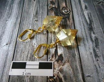 Earrings (diamond shape) with Golden flakes (349) - resin/resin