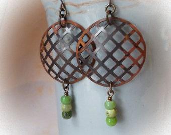 Large Rustic Earrings, with African chrysoprase and Brass, festive jewelry handmade, big organic dangle earrings gemstone tribal ethnic boho