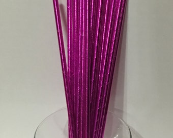 24 Pink Metallic Foil Paper Party Straws. Cake Pop Straws. Drinking Straws. Party Supplies. Dessert Table. Baking Supplies